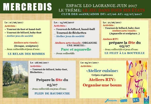 Programme d'activités Juin 2017 - Mercredis